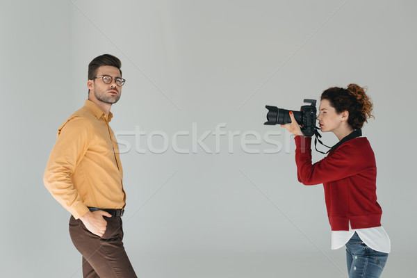 female photographer and stylish model Stock photo © LightFieldStudios
