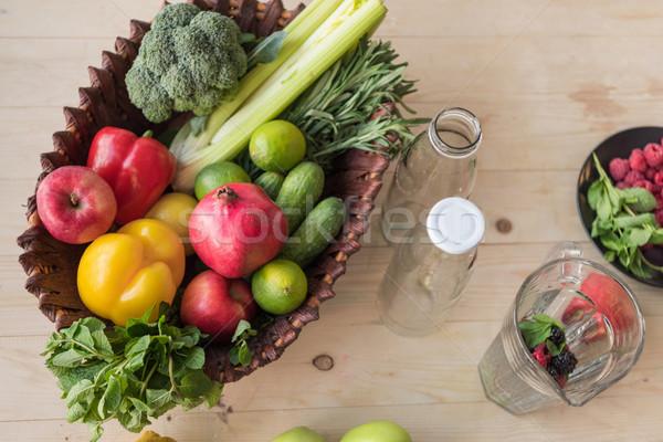 Bioélelmiszer kosár felső kilátás friss üres Stock fotó © LightFieldStudios