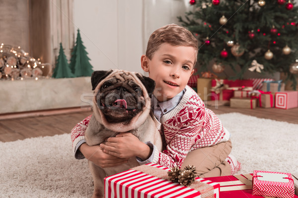boy embracing pug on christmas Stock photo © LightFieldStudios