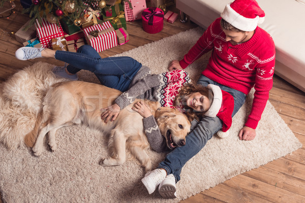couple in santa hats with dog Stock photo © LightFieldStudios