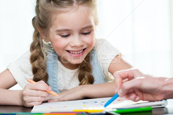 Сток-фото: счастливым · матери · дочь · рисунок · домой · стороны