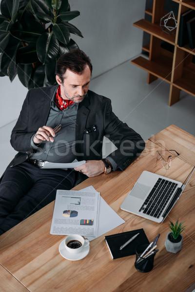 бизнесмен используя ноутбук мнение серьезный Сток-фото © LightFieldStudios