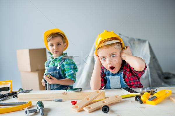 Little boys with tools Stock photo © LightFieldStudios
