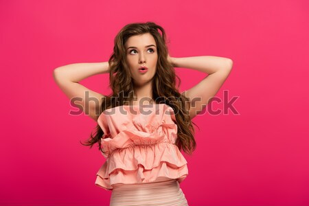 Vrouw duivel masker mooie jonge vrouw roze Stockfoto © LightFieldStudios