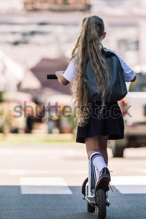 Vintage велосипед асфальт женщину ходьбе далеко Сток-фото © LightFieldStudios