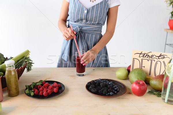 woman with detox drink on table Stock photo © LightFieldStudios