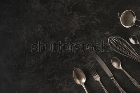 Bogyó pite ezüst étkészlet házi készítésű szemüveg kakaó Stock fotó © LightFieldStudios