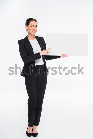 Işkadını boş kart gülen beyaz kart Stok fotoğraf © LightFieldStudios