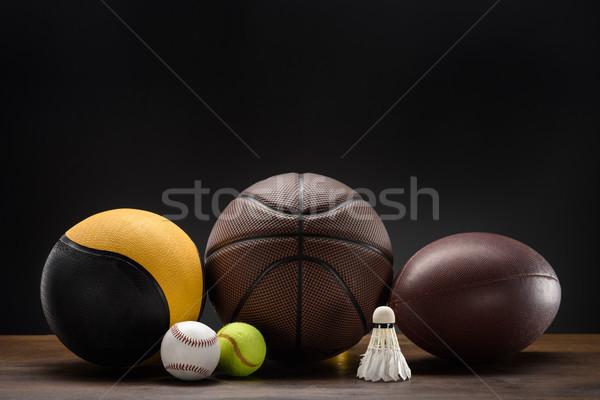 sports balls and shuttlecock Stock photo © LightFieldStudios