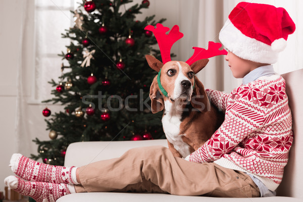 Menino cão natal pequeno seis Foto stock © LightFieldStudios