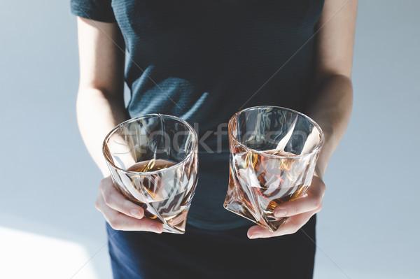 Persona gafas brandy primer plano vista Foto stock © LightFieldStudios