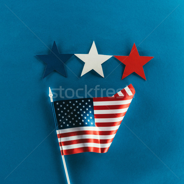 close up view of stars and american flag isolated on blue, presidents day concept Stock photo © LightFieldStudios