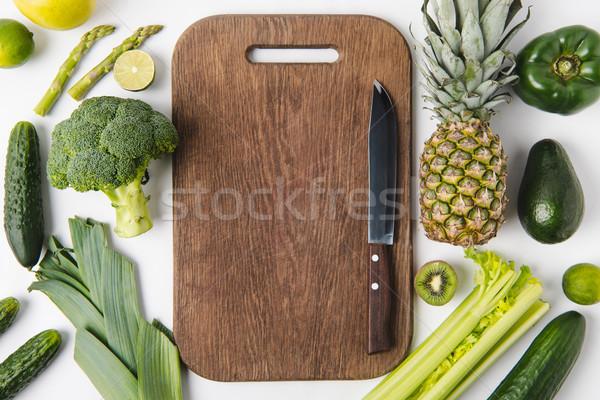 ножом разделочная доска зеленый овощей плодов Сток-фото © LightFieldStudios