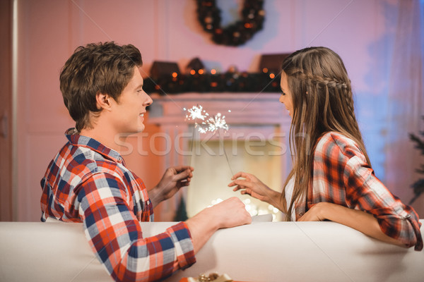 пару любви вид сбоку рук диван Сток-фото © LightFieldStudios