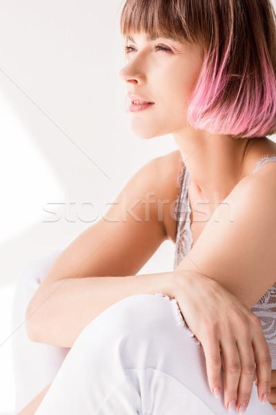 女性 座って 階 目 若い女性 ピンク ストックフォト © LightFieldStudios