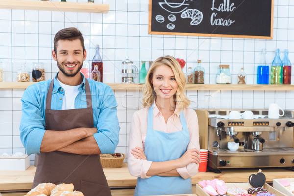 Stock photo: confident young cafe workers