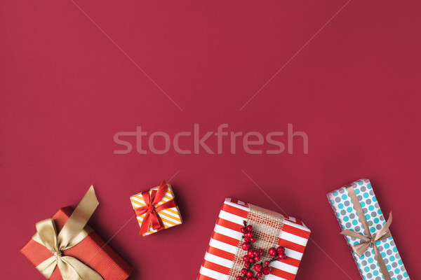 arranged christmas gift boxes Stock photo © LightFieldStudios