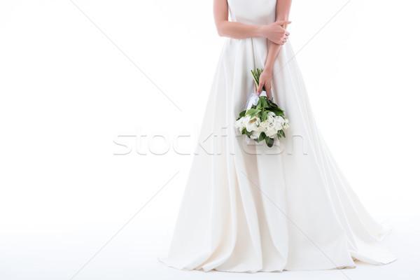 Stockfoto: Elegante · meisje · trouwjurk · boeket · geïsoleerd