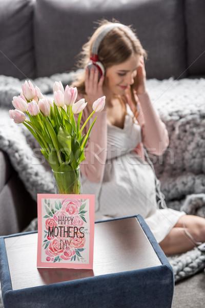 日 グリーティングカード 花 女性 ヘッドホン ストックフォト © LightFieldStudios