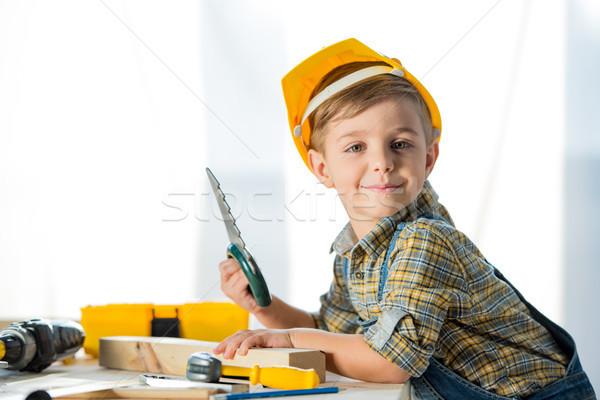 Stockfoto: Weinig · jongen · tools · aanbiddelijk