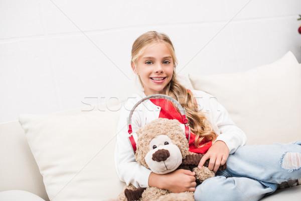 Enfant Nounours casque adorable souriant Photo stock © LightFieldStudios