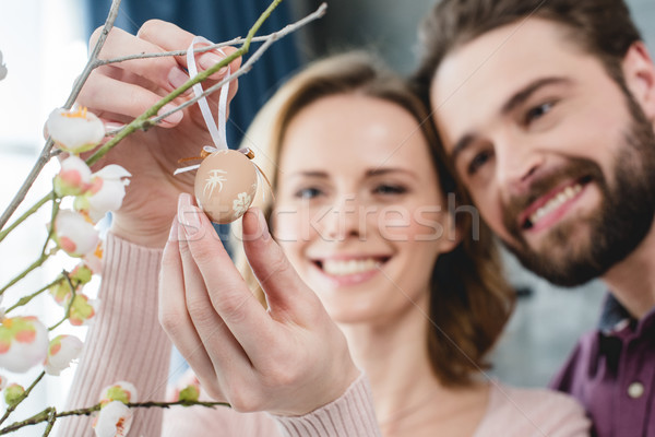 Stock photo: Couple with easter decoration
