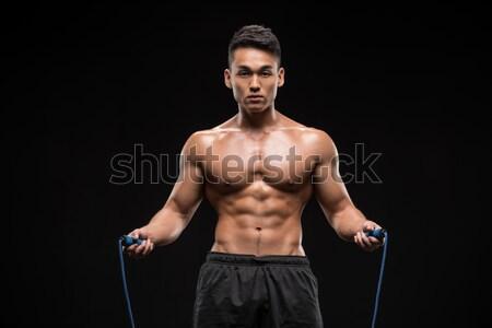 Póló nélkül ázsiai sportoló box néz kamera Stock fotó © LightFieldStudios