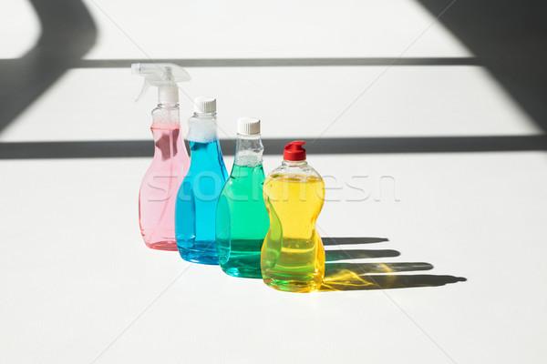 Сток-фото: пластиковых · бутылок · чистящие · средства · набор · красочный · белый