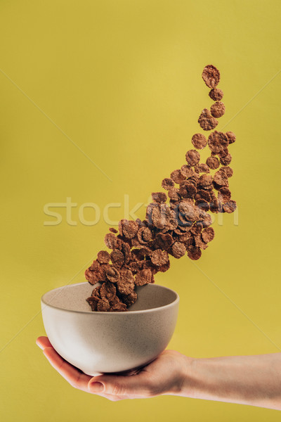 cropped shot of woman holding bowl with levitating chocolate corn flakes Stock photo © LightFieldStudios
