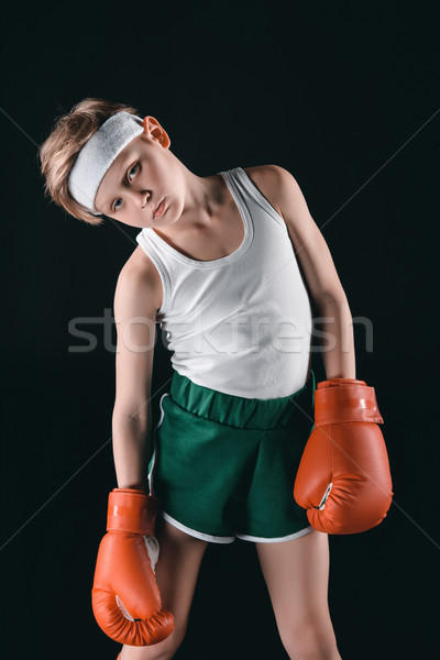 tired boy in boxing gloves isolated on black, active kids concept Stock photo © LightFieldStudios