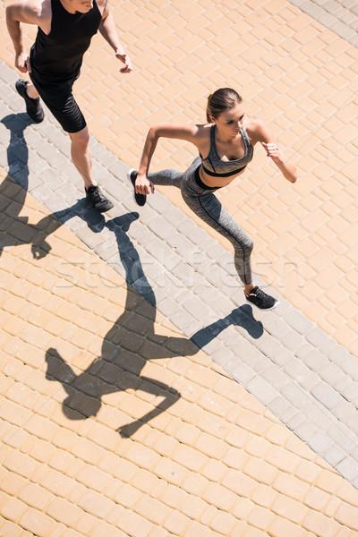Para jogging ulicy widoku wraz fitness Zdjęcia stock © LightFieldStudios
