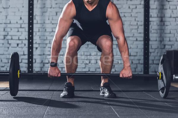 человека штанга мнение спортивная одежда спортзал Сток-фото © LightFieldStudios
