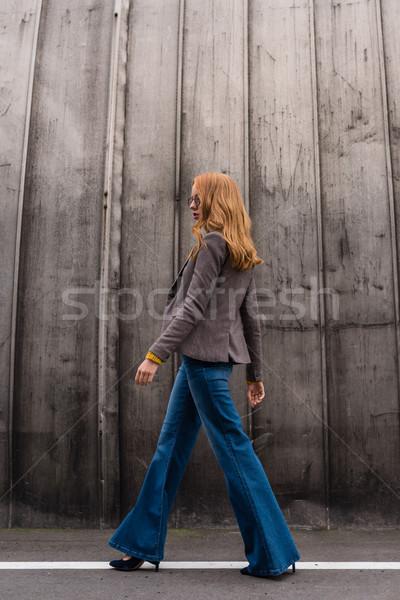Divatos vörös hajú nő lány vonzó szemüveg ősz Stock fotó © LightFieldStudios