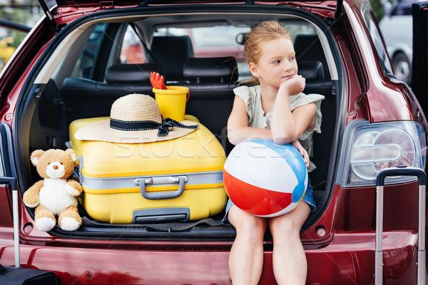 旅行 少女 座って 車 美しい 美 ストックフォト © LightFieldStudios