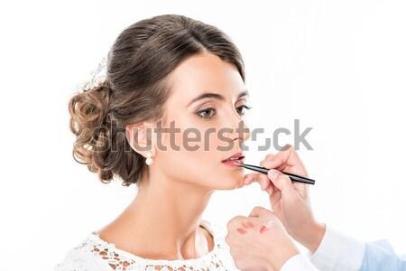 Makyaj sanatçısı ruj model yandan görünüş modelleri Stok fotoğraf © LightFieldStudios
