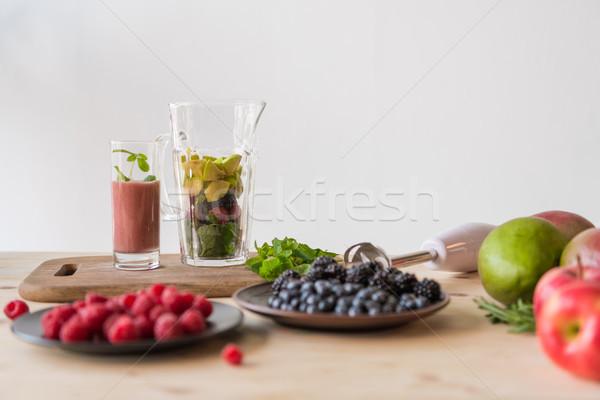 Hozzávalók detoxikáló ital közelkép kilátás különböző Stock fotó © LightFieldStudios