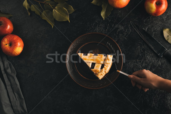 woman with piece of apple pie Stock photo © LightFieldStudios