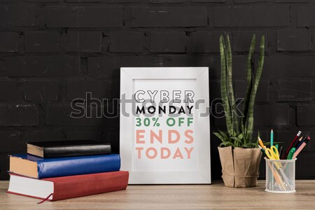 Vuota photo frame lavoro view tavola Foto d'archivio © LightFieldStudios