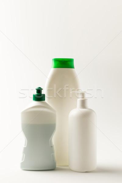 Foto d'archivio: Prodotti · di · pulizia · primo · piano · view · plastica · bottiglie