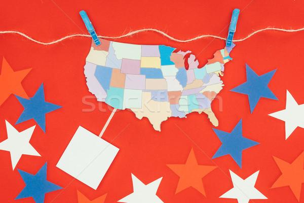 Top view pezzo mappa USA impiccagione Foto d'archivio © LightFieldStudios