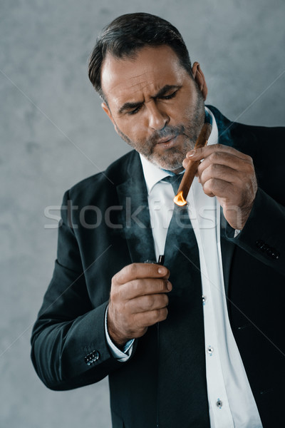 businessman smoking cigar Stock photo © LightFieldStudios