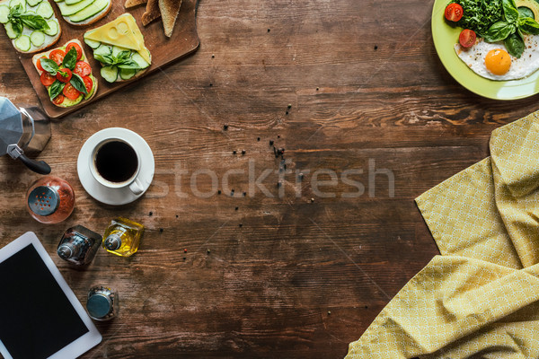 Stock fotó: Reggeli · felső · kilátás · csésze · kávé · tabletta