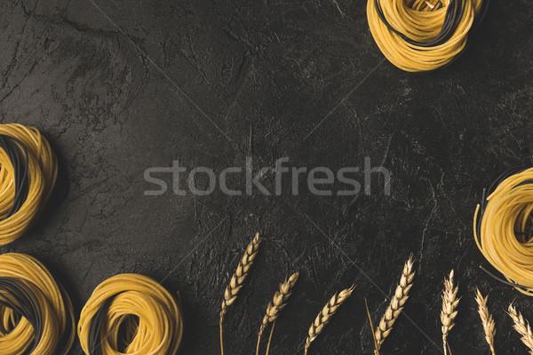 Photo stock: Brut · pâtes · blé · cadre · haut · vue