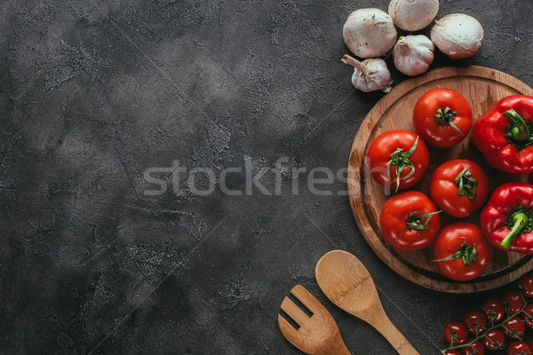 top view of different raw vegetables for pizza topping on concrete surface Stock photo © LightFieldStudios