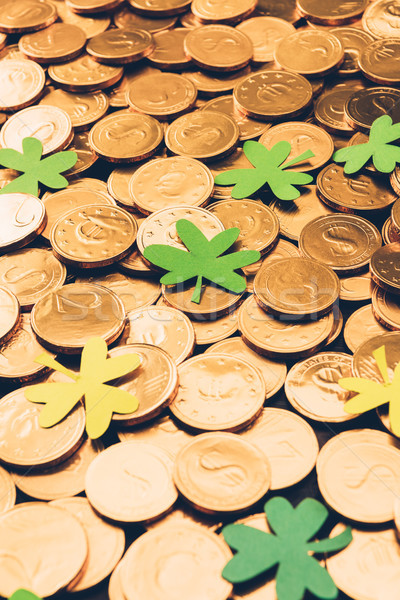 golden coins and shamrock, st patricks day concept Stock photo © LightFieldStudios