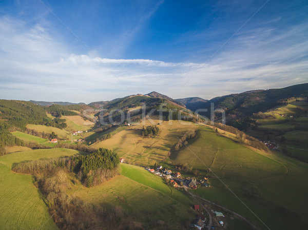 Aerial view of magnificent landscape with houses between hills, Germany Stock photo © LightFieldStudios