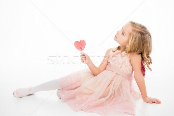 Lány szív alakú nyalóka aranyos kislány Stock fotó © LightFieldStudios