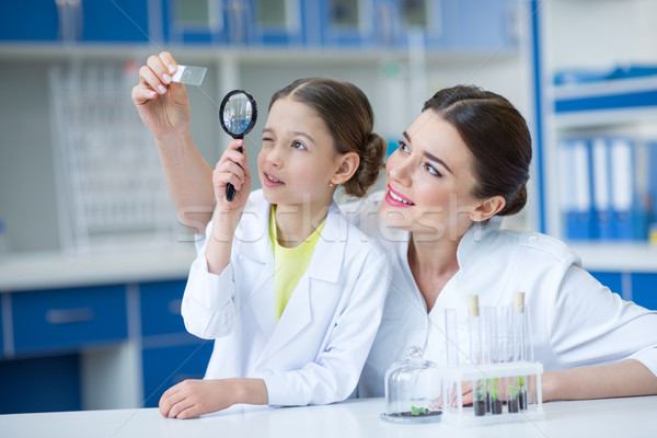 Woman teacher and girl student scientists looking at glass microscope slide through magnifier Stock photo © LightFieldStudios