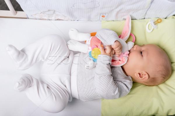 baby with toy in crib Stock photo © LightFieldStudios