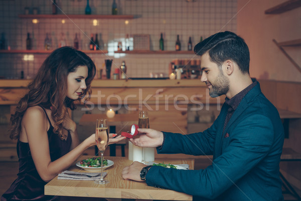 man proposing to girlfriend Stock photo © LightFieldStudios